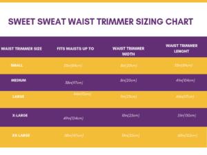 Sweet Sweat waist trimmer belt sizing chart